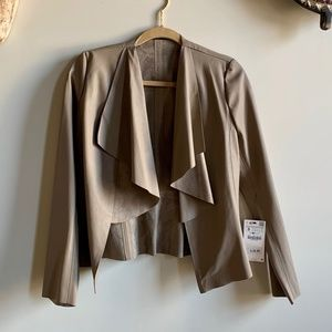 NWT Zara Faux Leather and Suede Drape Front Jacket